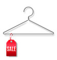 clothes hanger with sale tag vector image