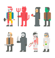 Flat design Halloween costume set vector image