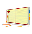 Notebook with pencil needle and heart vector image