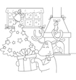 Reindeer with gift and Christmas tree vector image