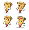 set collection pizza character cartoon vector image