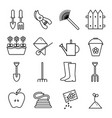 set icons outline garden on vector image