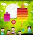 Mid Autumn Festival background with kids playing vector image