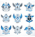 collection of heraldic decorative coat of arms vector image