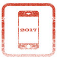 smartphone 2017 framed textured icon vector image