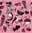 bird with pink heart seamless pattern vector image