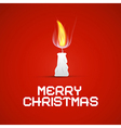 Red Christmas Template with Burning Candle vector image
