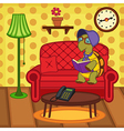 turtle reading book on couch vector image