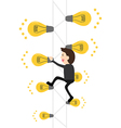 business man climb up to main idea at the top of vector image