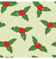 Christmas seamless pattern with ilex berries vector image