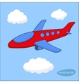 Red cartoon aircraft in clouds on blue background vector image