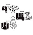 russian alphabet letter - teapot puppy winter vector image