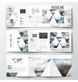 Set of tri-fold brochures square design templates vector image