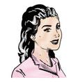 drawing woman pink dress pop art vector image
