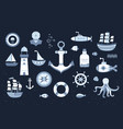 collection of marine elements vector image