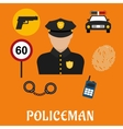 Policeman in uniform with police icons vector image vector image
