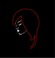 A beautiful girl in a red glowing hair vector image vector image