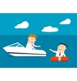 Businessman rescues another man at sea vector image