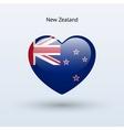 Love New Zealand symbol Heart flag icon vector image