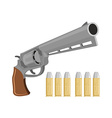 Gun with silver bullets Revolver for vampire vector image