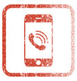 smartphone call framed textured icon vector image