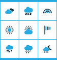 meteorology colored icons set collection of cold vector image