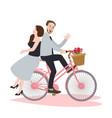 couple riding bike bicycle romance beautiful vector image
