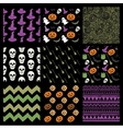 Colorful Sketched Doodle Halloween Patterns vector image