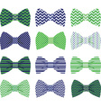 Cute Navy and Green Bow Tie Collection vector image vector image