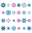 Blue and pink flowers set vector image