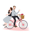 couple riding bike bicycle romance beautiful vector image