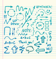 hand drawn highlighter elements on copybook vector image