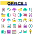 Office 1 linear icons collection vector image