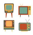retro tv items set on white background vector image