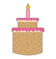 sweey cake birthday icon with candle vector image