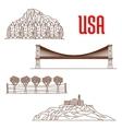 American nature landmarks and sightseeing symbols vector image