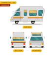 car set for camping caravan with three views vector image