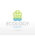 ecological symbol logo with clover leaf blue vector image