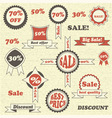 Sale emblems labels and tags vector image