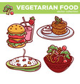 vegetarian food collection of tasty meals vector image