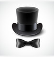 Vintage top hat and a bow tie vector image