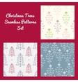 Christmas Trees Seamless Patterns Set vector image