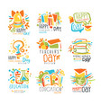 Happy teachers day labels set of logo graphic vector image