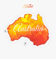 Travel around the world Australia Watercolor map vector image
