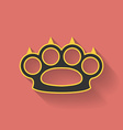 Icon of brass knuckles or knuckle duster Flat vector image