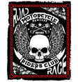 motorcycle poster design skull fashion tee graphic vector image