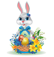 Easter bunny with basket of eggs vector image