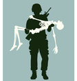 Soldier carrying skeleton vector image vector image