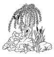 willow and shrubs vector image vector image