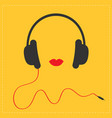 Headphones with red cord and lips music card flat vector image
